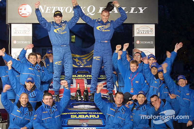 Richard Burns, Robert Reid and Team Subaru celebrating