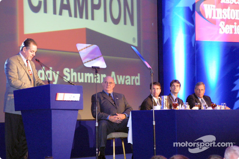 Dave Marcis being presented with Buddy Shuman Award for NASCAR Excellence