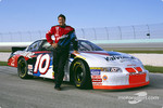 Johnny Benson presenting the new paint scheme on his Valvoline car