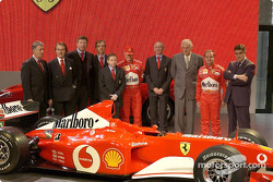 Piero Lardi Ferrari, Luca di Montezemolo, Ross Brawn, Paolo Martinelli, Jean Todt, Michael Schumacher, Rory Byrne, Paolo Fresco, Rubens Barrichello and Paolo Cantarella