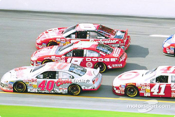 Sterling Marlin, Jeremy Mayfield and Dale Earnhardt Jr. battling it out