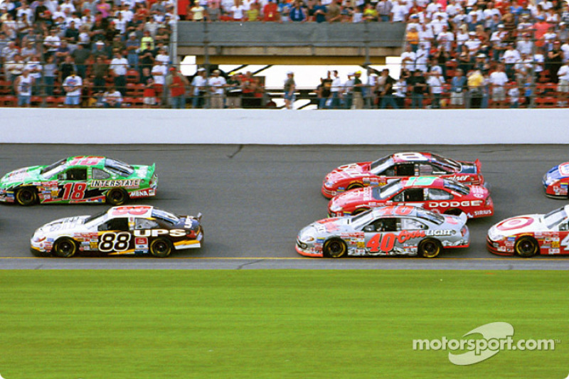 Bobby Labonte and Dale Jarrett leading the field