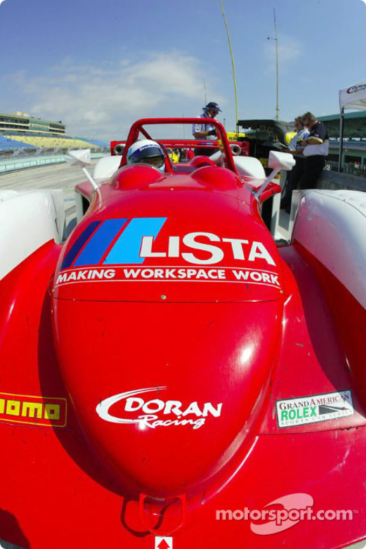 Rolex 24 At Daytona winner Mauro Baldi sits in the #27 Doran Lista Judd Crawford in the pits