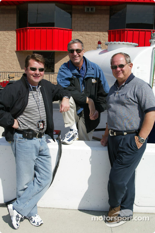IRL sports commentator Scott Goodyear, Bob Jenkins and Paul Page