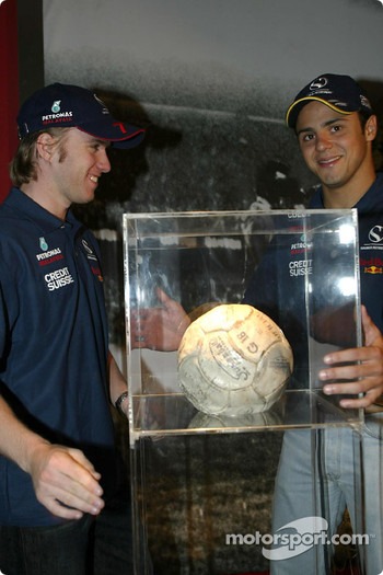 Visit at Pel Exhibition in Sao Paulo: Nick Heidfeld and Felipe Massa
