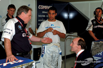 Patrick Head, Juan Pablo Montoya and Frank Williams