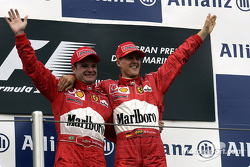 The podium: race winner Michael Schumacher with Rubens Barrichello