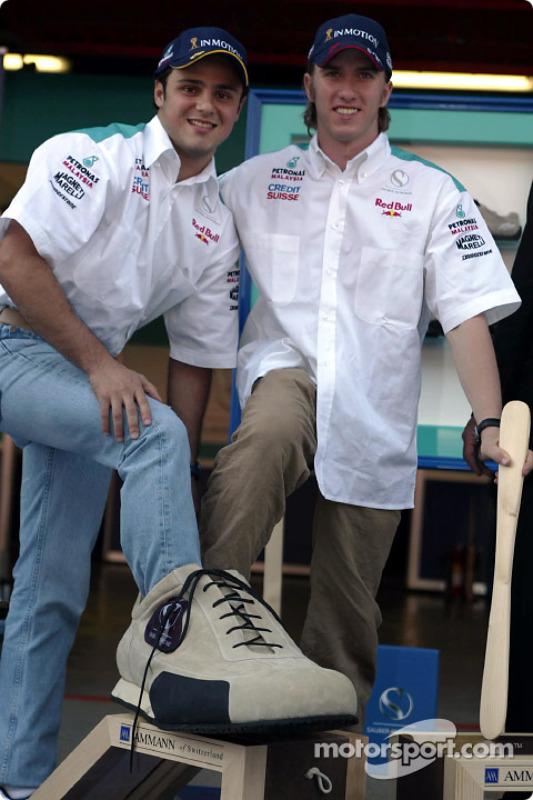 Partnership between Sauber and Ammann of Switzerland: Felipe Massa and Nick Heidfeld
