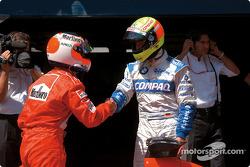 Ralf Schumacher congratulating Rubens Barrichello