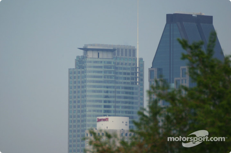 Sunday morning: Downtown Montreal, from the track
