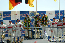 The overall and LMP 900 - LM GTP podium: Christian Pescatori, Johnny Herbert, Rinaldo Capello, Emanuele Pirro, Tom Kristensen, Frank Biela, Michael Krumm, Marco Werner and Philipp Peter