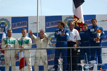 The LMP 675 podium: winners Christophe Pillon, Walter Lechner Jr. and Jean-Denis Deletraz with second place Jean-René de Fournoux, Jean-Bernard Bouvet and Stéphane Daoudi