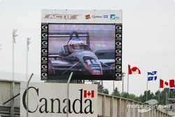 Race winner Michael Valiante on the jumbo screen