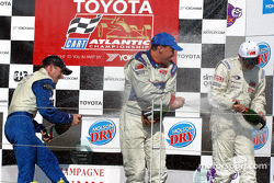 The podium: race winner Rocky Moran Jr., Jon Fogarty and Ryan Dalziel