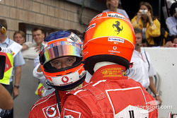 Pole winner Michael Schumacher and Rubens Barrichello