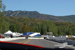 The pitlane, with Mont-Tremblant ski resort in the background