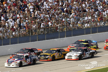 Jeff Burton leads Todd Bodine, Matt Kenseth, Ryan Newman and Ricky Rudd