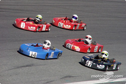 Enduro racers battle it out on the 2.25-mile high banks of turn 4 at Lowe's Motor Speedway during the NAKC