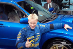 Petter Solberg gives thumbs up to the new Subaru Impreza WRX STi unveiling