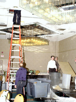 To add to the excitement, a hot water pipe broke in the Convention's banquet room and started flooding the podium;  the Radisson staff did an admirable job fixing the leak and getting the room ready for use