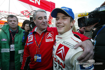Guy Frquelin and rally winner Sbastien Loeb
