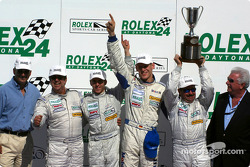 Michael Schrom, Kevin Buckler, Timo Bernhard and Jorg Bergmeister celebrate victory