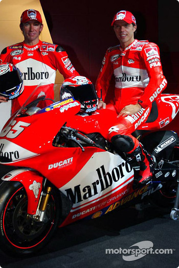 Riders Loris Capirossi and Troy Bayliss