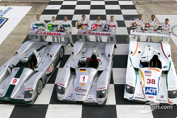 The three Audi teams at the Sebring 12 Hour with their drivers: Mika Salo, Jonny Kane, Perry McCarthy, Frank Biela, Marco Werner, Philipp Peter, J.J. Lehto, Emanuele Pirro and Stefan Johansson