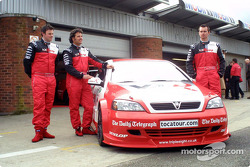 Yvan Muller, Paul O'Neill and James Thompson unveil the Vauxhall