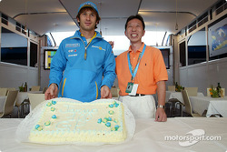 Jarno Trulli celebrates his 100th Grand Prix start