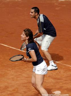 Charity tennis tournament at the Sanchez-Casal Academy in Barcelona: Arantxa Sanchez and Juan Pablo Montoya
