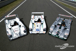 The three Audi R8s for the 2003 Le Mans 24 Hour race: Audi Sport Japan Team Goh, Team ADT Champion Racing and Audi Sport UK