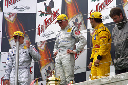 The podium: race winner Christijan Albers with Marcel Fassler and Laurent Aiello