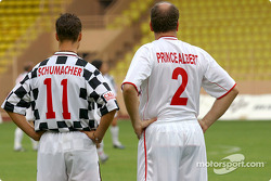Football match at Stade Louis II in Monaco: Michael Schumacher and Prince Albert
