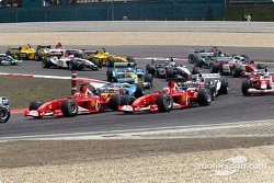 The start: Michael Schumacher and Rubens Barrichello lead the field