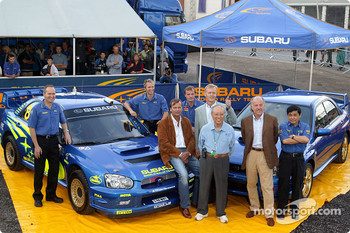 Subaru celebrates 10 years of the Impreza: Markku Alen, Ari Vatanen and David Richards