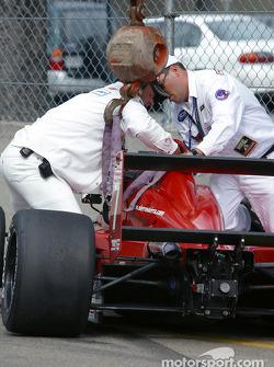 Rescue operation on Kyle Krisiloff's car