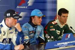 Press conference: pole winner Fernando Alonso with Ralf Schumacher and Mark Webber
