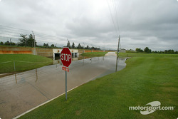 Flooding at Indianapolis Motor Speedway in the aftermath of record rainfall over the Labor Day weekend