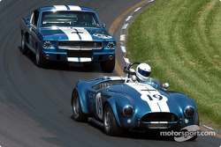 #19 1964 AC Cobra USRRC, owned by Frank Gerber leads 1966 Shelby GT350, owned by Camee Edelbrock