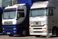 Williams and McLaren transporters