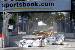 Start: #38 Team ADT Champion Racing Audi R8: Johnny Herbert, JJ Lehto leads #1 Infineon Team Joest Audi R8: Frank Biela, Marco Werner