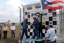 Podium: champagne for Wally Castro, Bobby Sak and Tomy Drissi