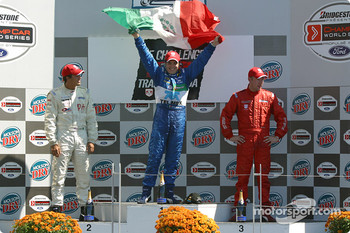 Podium: race winner Memo Rojas with Leonardo Maia and Colin Fleming