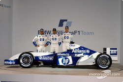 Juan Pablo Montoya, Marc Gene and Ralf Schumacher with the new WilliamsF1 BMW FW26
