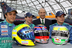 Felipe Massa, test driver Neel Jani, Peter Sauber and Giancarlo Fisichella