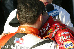 Tony Stewart congratulates Dale Earnhardt Jr.