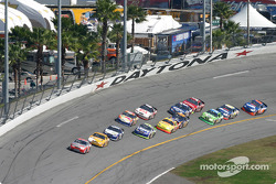 Kevin Harvick leads the field to the restart