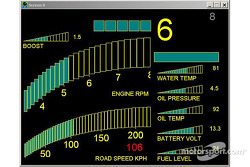 The new Subaru Impreza WRC2004: dashboard, road section information screen