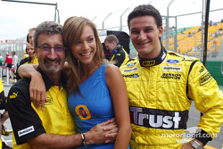 Eddie Jordan, the face of Foster's Rachel Swaney and Giorgio Pantano
